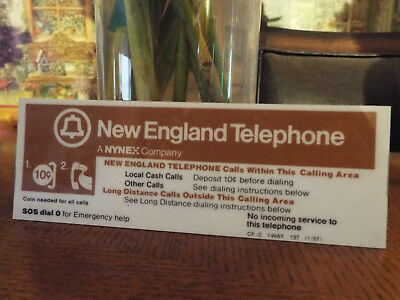 Nos 4 New England Telephone Pay Phone 10 Cent Placard- Double Sided-