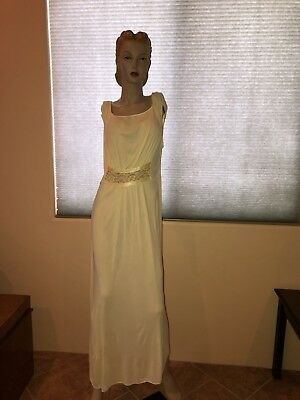 vintage yellow full legnth night gown piegnoir negligee L/XL rockabilly pin up