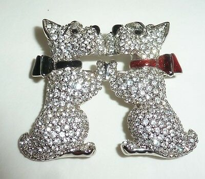 Signed Swarovski Pave Crystal Kissing Scotties Terriers Dog  Pin ~ Brooch Wow!!