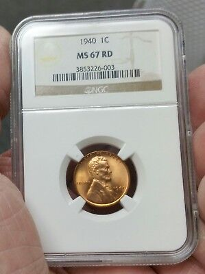"1940 Lincoln Cent NGC MS 67 RD VERY RARE BLAZING RED "" NGC PRICE VALUE $170.00 """