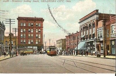 Vintage Postcard Oklahoma City Broadway Looking South
