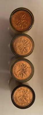 Lot of (4) rolls of uncirculated 1963  Canadian Cents Coins Canada penny  SD