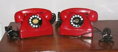 2 Vintage 50's Cherry Red Contelco Signal Corps US Army Desktop Telephones Deco