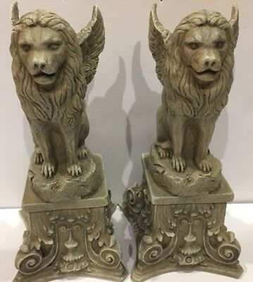 """Two ~ Winged Lion Gargoyle Figurines 9"""" H on Pedestal Collector Decoration"""