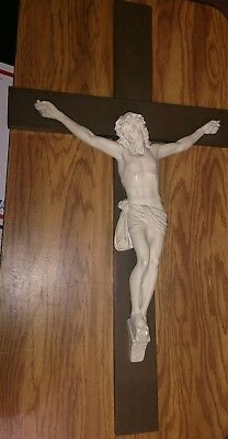 """Large Vintage Antique Chalkware On Wood  Crucifix Cross 30"""" Tall"""