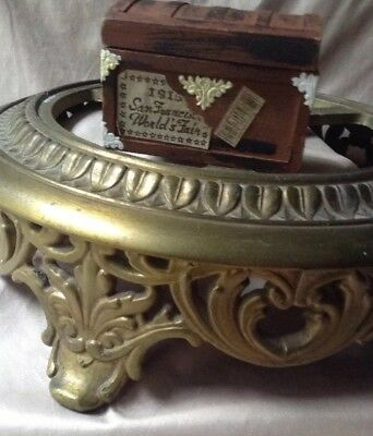 Antique Vintage Victorian Art Nouveau Cast Brass Footed Lamp Base