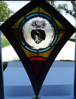 Antique Victorian Church Stained Glass Window Architectural Salvage 1872 Jesus
