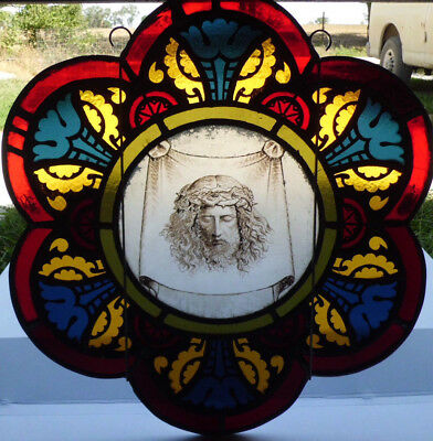 Antique Victorian Church Stained Glass Window Architectural Salvage 1872 W129