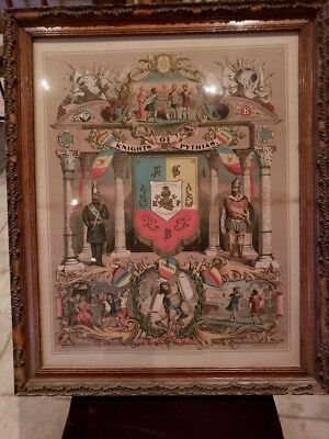 Antique Knights of Pythias Picture Framed
