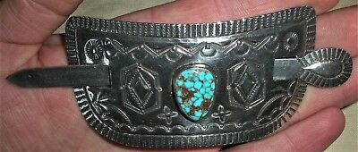 RARE VINTAGE SIGNED MARK CHEE STERLING SILVER & TURQUOISE HAIR BARRETTE vafo