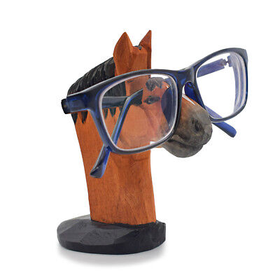 Vintage Wooden Eyeglass Holder Display Stand Horse Shaped Sunglass Storage Rack