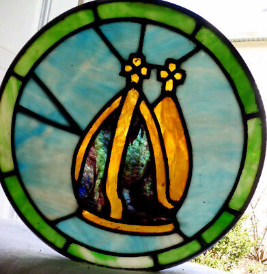 Antique Vtg Church Stained Glass Window Architectural Salvage Sun Catcher S4