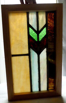 Antique Vtg Church Stained Glass Window Architectural Salvage Arts & Crafts W122