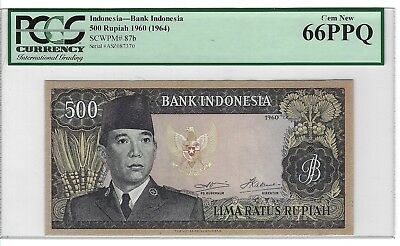 P-87b 1960 500 Rupiah, Bank of Indonesia, PCGS 66PPQ Finest Known!