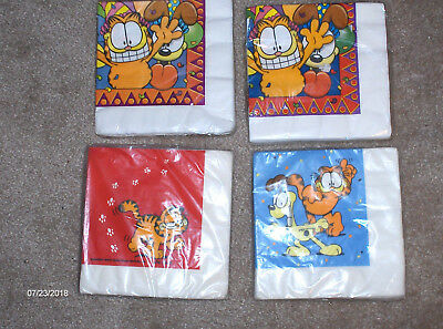 Vintage Garfield Napkins, SEALED, 2 Birthday, 1 Party  & 1 2nd Generation