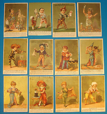 Rare-French-Children performing Magic-Complete Set-ca. 1890s-Gold Background-Oo