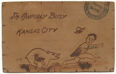 1905 I'm Awfully Busy Kansas City Leather Postcard
