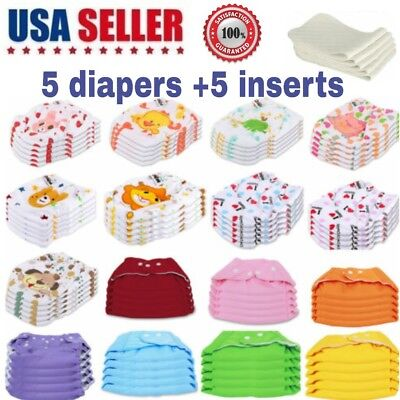 5 Diapers +5 Inserts Adjustable Reusable Baby Washable Cloth Diaper Nappies Lot