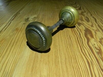 Vintage Brass Metal Door Knob Set, Salvaged Hardware, Complete Spindle Stem