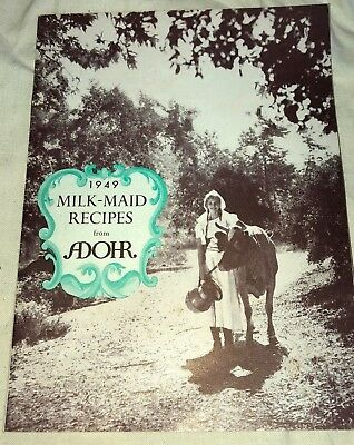 Vintage 1949 Milk-Maid Recipes from Adohr Dairies Dairy ~ 30 pg Booklet