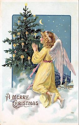 Christmas~Angel Kneels in Clouds~Candle Lit Decorated Tree~Crescent Moon~Germany