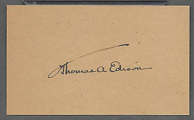 Thomas Edison Autograph Reprint On Old 3X5 Card Inventor of Phonograph & Lamp