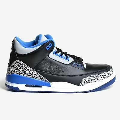 94a6ef295d655c Air Jordan 3 Retro Black Sport Blue 2014 Grey White Men s III DS 136064-007