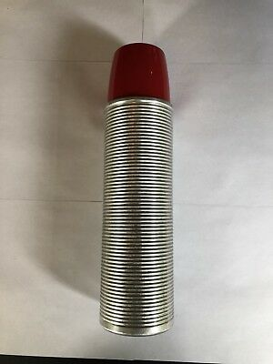 Vintage THERMOS Brand Vacuum Bottle Model 2484 Aluminum Ribbed, Red Lid. 2 Cups