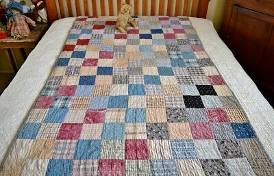 Antique Calico Patchwork Cot Quilt with Homespun Backing