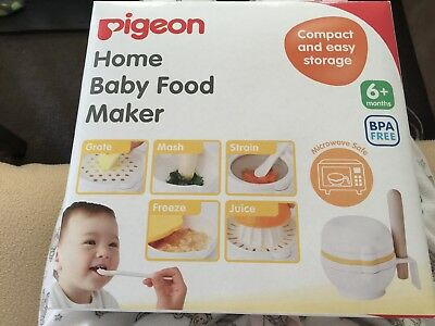 BNIB Pigeon Home Baby Infant Food Maker From Japan 8 Pcs Microwave Safe