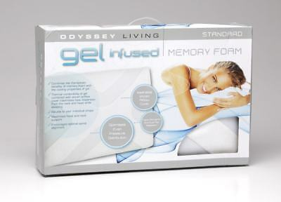 RRP$199! 1200GSM Gel Infused Memory Foam Pillow Odyssey Living Standard 60x40cm