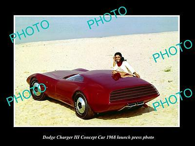 Old Large Historic Photo Of 1968 Dodge Charger Concept Car Launch Press Photo