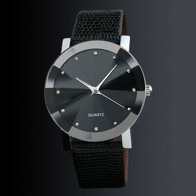 Wrist Watch for Kids Boys Girl Children Women Ladies Fashion Black Leather Band