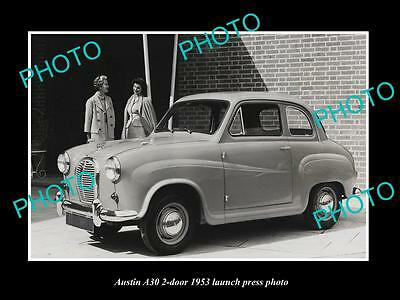 Old Large Historic Photo Of 1953 Austin A30 2 Door Car Launch Press Photo