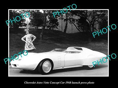 Old Large Historic Photo Of 1968 Chevrolet Vette Concept Car Launch Press Photo