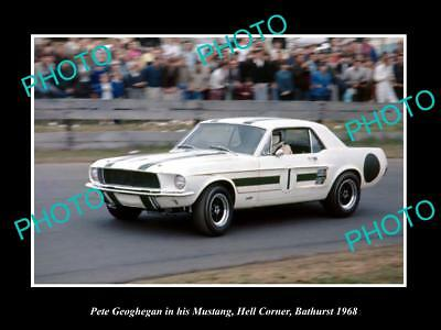 Old Historic Motor Racing Photo Of Pete Geoghegan Ford Mustang Bathurst 1968