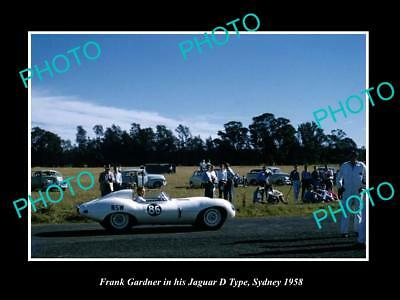 OLD HISTORIC MOTOR RACING PHOTO OF FRANK GARDNER JAGUAR D TYPE SYDNEY c1958