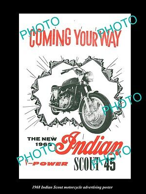 Old Large Historic Photo Of 1968 Indian Scout 45  Motorcycle Poster