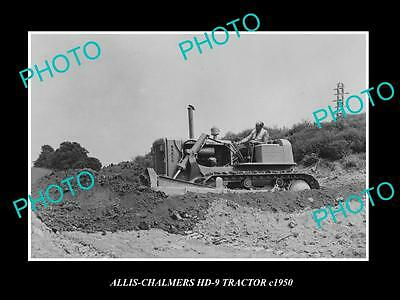 OLD LARGE HISTORIC PHOTO OF 1950s ALLIS CHALMERS HD-9 TRACTOR IN ACTION