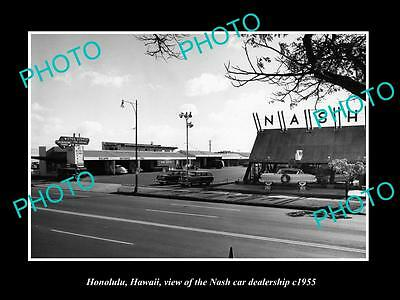 OLD LARGE HISTORIC PHOTO OF HONOLULU HAWAII, THE NASH CAR DEALERSHIP c1955