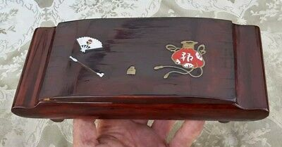 Antique Japanese Lacquer Wood Cigarette Box Smoking Ashtray Silver & Gold Inlay