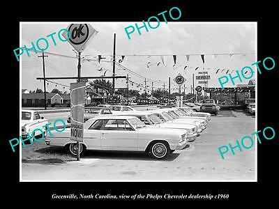 Old Large Historic Photo Of Greenville North Carolina, Chevrolet Dealership 1960