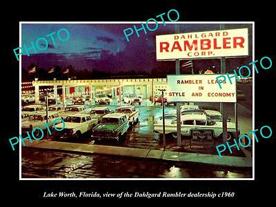OLD LARGE HISTORIC PHOTO OF LAKE WORTH FLORIDA, THE RAMBLER CAR DEALERSHIP c1960