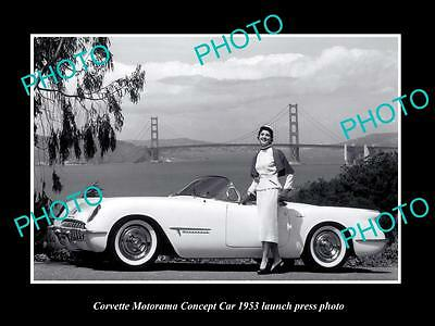 Old Large Historic Photo Of 1953 Corvette Motorama Concept Launch Press Photo