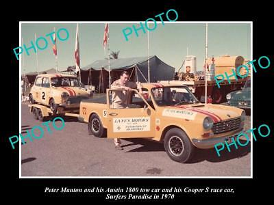 Old Historic Motor Racing Photo Of Peter Manton Mini Cooper S Surfers 1970