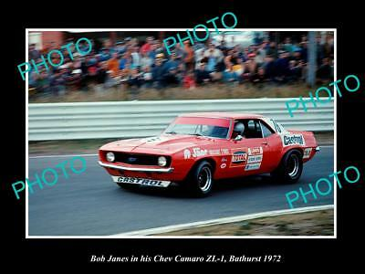 Old Historic Motor Racing Photo Of Bob Jane & His Chev Camaro Zl-1 Bathurst 1972