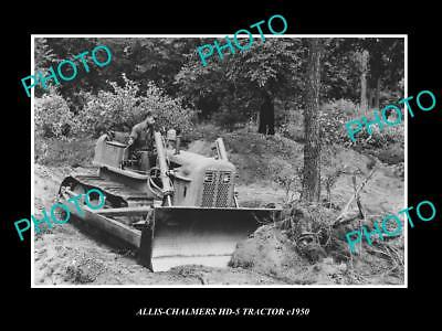 OLD LARGE HISTORIC PHOTO OF 1950s ALLIS CHALMERS HD-5 TRACTOR IN ACTION