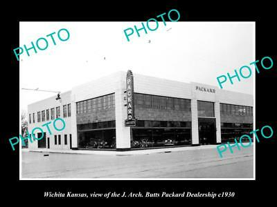 OLD LARGE HISTORIC PHOTO OF WICHITA KANSAS, THE PACKARD CAR DEALERSHIP c1930