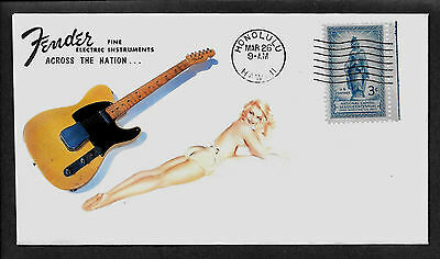 1952 Fender Telecaster & Pin Up Girl ad Featured on Collector's Envelope *A188