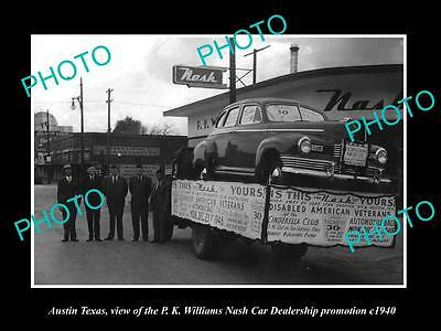 Old Large Historic Photo Of Austin Texas, The Nash Car Dealership Promotion 1940